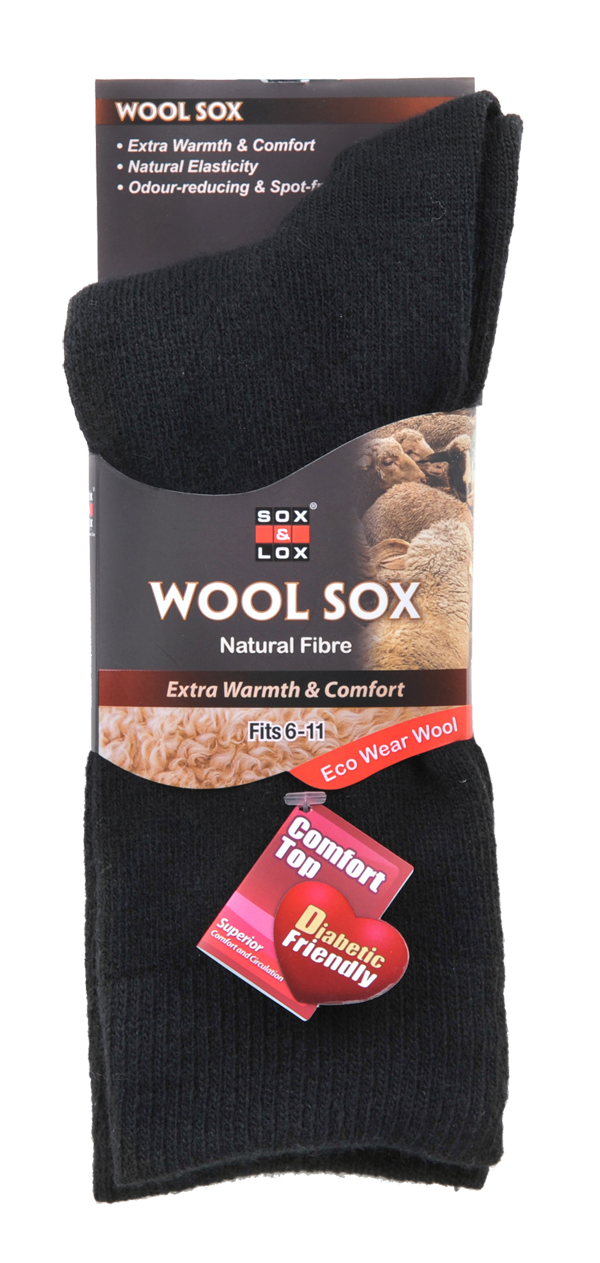 Men's Wool Business Socks for Diabetics. High quality wool and loose-top socks keeps the feet warm and provides superior comfort.