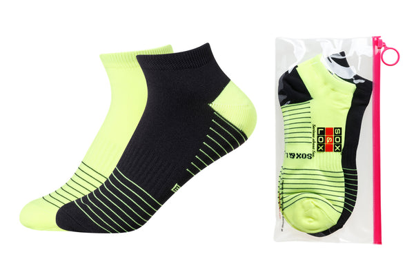 Women's Quick Dry & Cool Low Cut Socks 2 pack, ideal for Travel, Sports & Exercise. Black & Neon Yellow