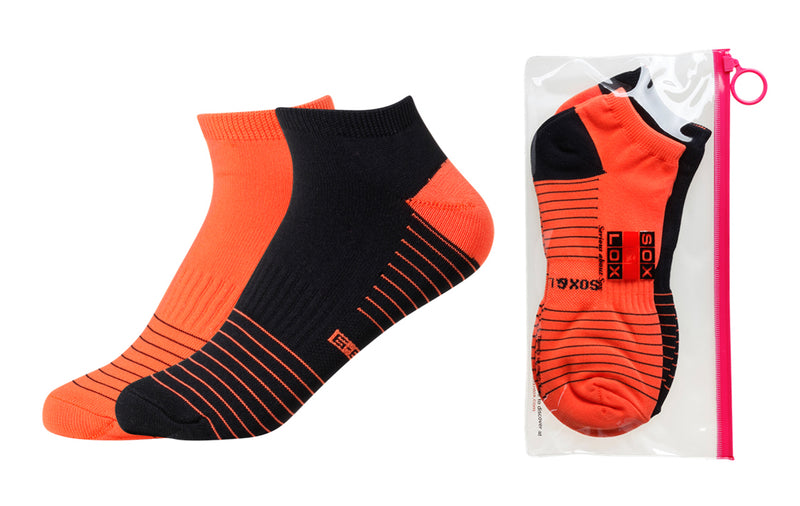 Women's Quick Dry & Cool Low Cut Socks 2 pack, ideal for Travel, Sports & Exercise. Black & Neon Orange