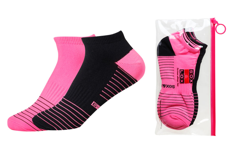 Women's Quick Dry & Cool Low Cut Socks 2 pack, ideal for Travel, Sports & Exercise. Black & Neon Pink