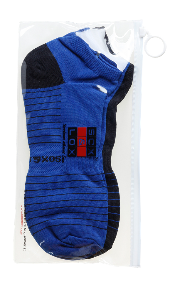 Men's Quick Dry & Cool Low Cut Socks 2 pack, ideal for Travel, Sports & Exercise. Black & Blue