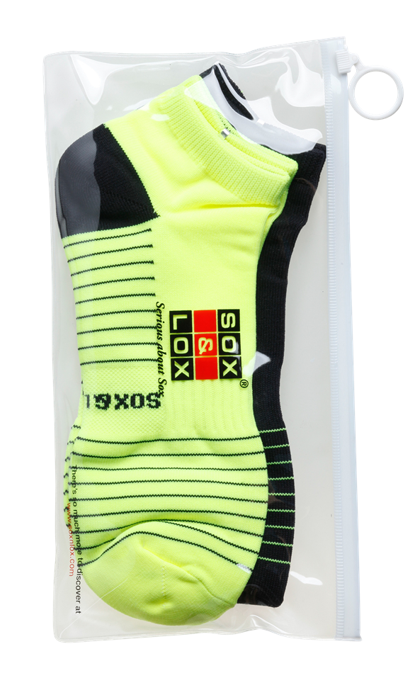 Men's Quick Dry & Cool Low Cut Socks 2 pack, ideal for Travel, Sports & Exercise. Black & Neon Yellow