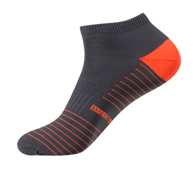 Men's Quick Dry & Cool Low Cut Socks 2 pack, ideal for Travel, Sports & Exercise. Black & Neon Orange