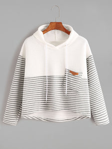 STRIPED DRAWSTRING HOODED POCKET SWEATSHIRT