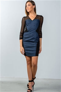 DENIM BODYCON MINI DRESS