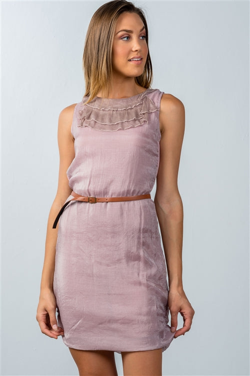PINK CHIFFON BELTED MINI DRESS