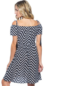 STRIPED BOHO OFF THE SHOULDER MIDI DRESS