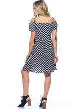 Load image into Gallery viewer, STRIPED BOHO OFF THE SHOULDER MIDI DRESS
