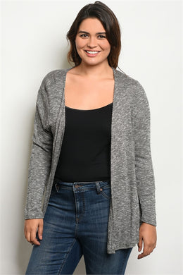 PLUS SIZE BLACK/WHITE CARDIGAN