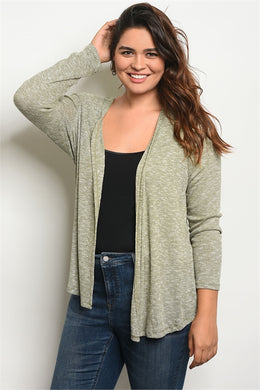 PLUS SIZE OLIVE/WHITE CARDIGAN
