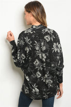 Load image into Gallery viewer, BLACK / BEIGE FLORAL CARDIGAN