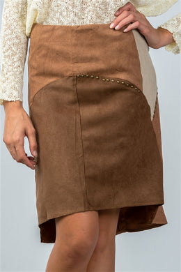 BOHO COLOR-BLOCK MINI SKIRT