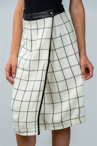 CHECK LAP WRAP MIDI SKIRT