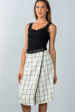 Load image into Gallery viewer, CHECK LAP WRAP MIDI SKIRT