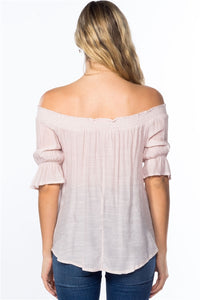 BLUSH PINK OFF-THE-SHOULDER TOP