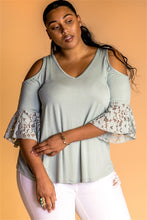 Load image into Gallery viewer, PLUS SIZE BOHO COLD SHOULDER TOP