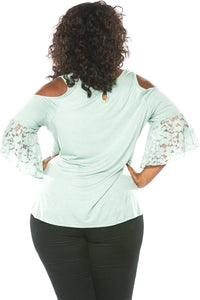 PLUS SIZE BOHO COLD SHOULDER TOP