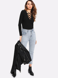 Plunge Crisscross Ribbed Shirt