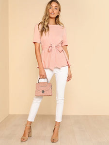 Belted Blush Top With Keyhole Back