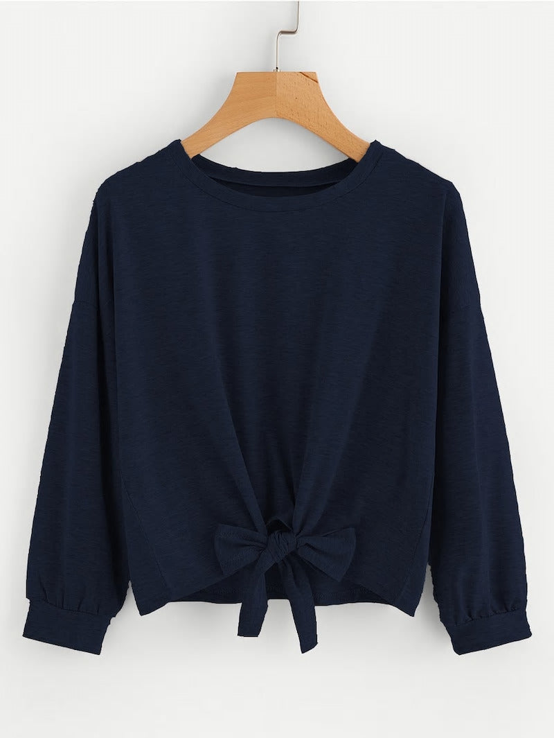 BOW TIE DROP SHOULDER SWEATSHIRT