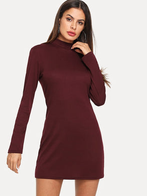 Stand Neck Body Con Dress