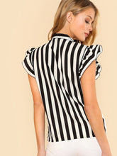 Load image into Gallery viewer, Tie Neck Flutter Striped Blouse