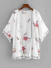 Load image into Gallery viewer, FRINGE TRIM FLORAL KIMONO