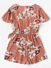 Load image into Gallery viewer, Knot Side Floral Romper