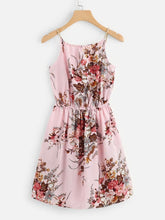Load image into Gallery viewer, FLORAL PRINT TIE NECK CAMI DRESS