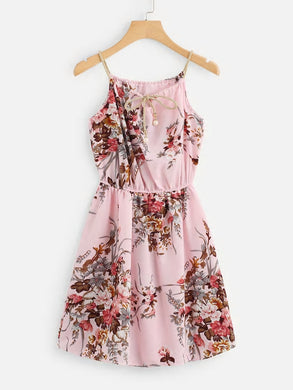 FLORAL PRINT TIE NECK CAMI DRESS