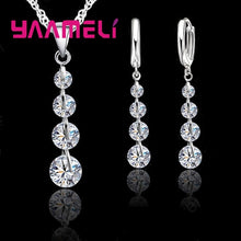 Load image into Gallery viewer, Exquisite Real 925 Sterling Silver Bridal Jewelry Sets Long Style Austrian Crystal Necklaces Earrings Wedding Accessory