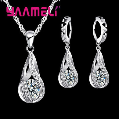 Hot Water Drop CZ 925 Sterling Silver Jewelry Set For Women Pendant Necklace Hoop Earrings Wedding Party Ceremoey Anel