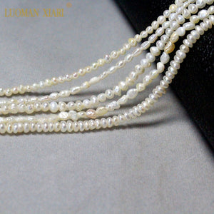 Fine 100% Natural Freshwater Pearl Irregular Rice Shape Beads For Jewelry Making DIY  Bracelet Necklace 2-4mm Strand  14''