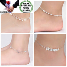 Load image into Gallery viewer, OMHXZJ Wholesale European Fashion Woman Girl Party Birthday Gift Two Layers Star Beads Two Lines 925 Sterling Silver Anklet JL02