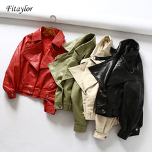 Load image into Gallery viewer, Fitaylor Women Faux Leather Jacket Batwing Sleeve Vintage Biker Coat Short Zipper Motor PU Red Jacket Spring Street Leather Coat