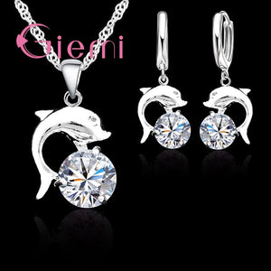 Vintage Novel 925 Sterling Silver Fish Dolphin Pendant Necklace Earrings Wedding Shiny Cubic Zirconia Crystal Jewelry Sets