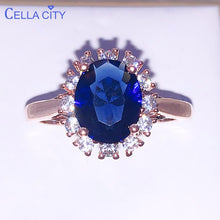 Load image into Gallery viewer, Cellacity Silver 925 Ring for women With Oval blue sapphire gemstone silver charm female Jewelry Engagement wedding party gift