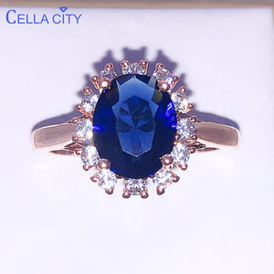 Cellacity Silver 925 Ring for women With Oval blue sapphire gemstone silver charm female Jewelry Engagement wedding party gift