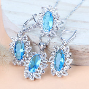 Women Costume Bridal Jewelry Sets Cubic Zirconia 925 Silver Earrings/Pendant/Necklace/Rings Sets Free Gift Box