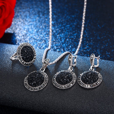 VKME Vintage Crystal Round Jewelry for Women Charm Necklace Earrings Color Black Fashion Party Earring Jewelry New arrival