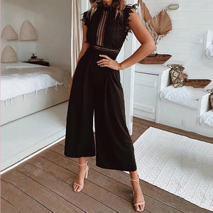 Sexy Lace Hollow Out Women's Jumpsuit Rompers Sleeveless Backless Black White Overalls 2020 Summer Wide Leg Ruffles Playsuits