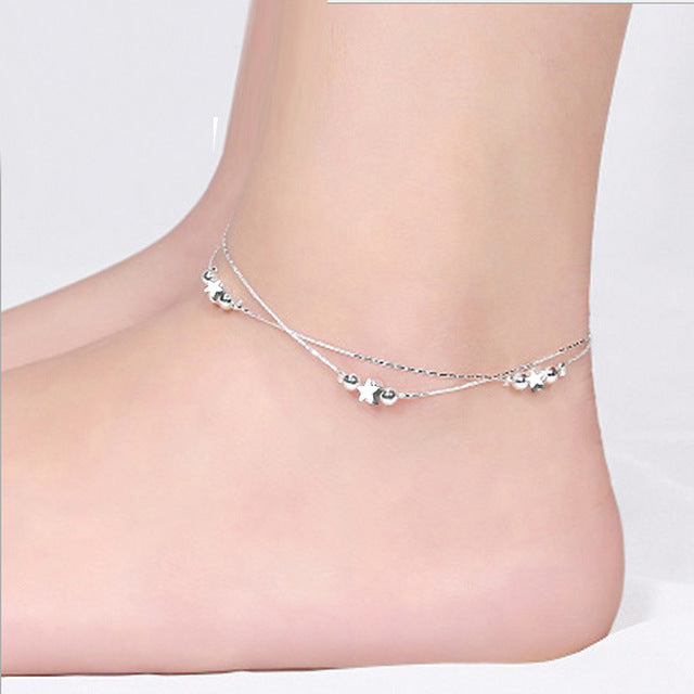 OMHXZJ Wholesale European Fashion Woman Girl Party Birthday Gift Two Layers Star Beads Two Lines 925 Sterling Silver Anklet JL02