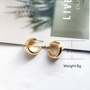 Street Style CC Hoop Chunky Gold Silver Small Big Hoop Earrings For Women Punk Metal Gold Circle Earrings