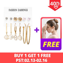 Load image into Gallery viewer, 17KM New Vintage  Jewelry Set For Women Girl Bohemian Hair Clips & Pins 2020 Simulated Pearl Earrings Gold  Jewellery Brincos