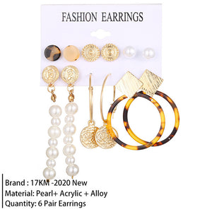 17KM New Vintage  Jewelry Set For Women Girl Bohemian Hair Clips & Pins 2020 Simulated Pearl Earrings Gold  Jewellery Brincos