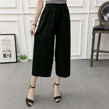 Load image into Gallery viewer, ETOSELL Women New Summer Wide Leg Pants Casual Loose High Elastic Waist Harem Pants Loose Belt Striped Elasticated Trousers