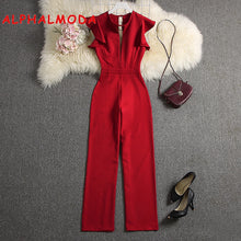 Load image into Gallery viewer, ALPHALMODA 2019 Summer Women Deep V-neck Sexy Jumpsuits Solid Color Straight Full Length Pants Ladies Party Overall Outfit