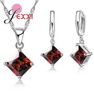 New Arrival 925 Sterling Silver Women Accessories Earrings Jewelry Set With Shiny Square Shinny CZ Necklace Earrings