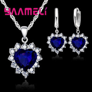 925 Sterling Silver Trendy Heart Pendant Crystal Necklace Loop Earring Wedding Jewelry Sets CZ Cubic Zircon Accessory