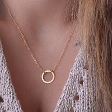 Load image into Gallery viewer, European and American jewelry leaf clavicle chain brand temperament personality fashion simple circle bar Necklace woman